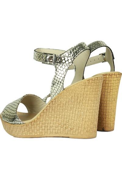 Erkan Kaban 9271 721 Kadın Altın Dolgu Topuk Sandalet