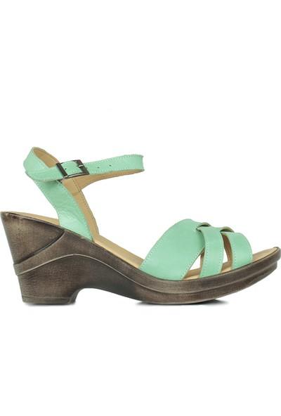Erkan Kaban 2261 674 Kadın Yeşil Dolgu Topuk Ayakkabı