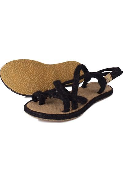 Loggalin 965002 008 Kadın Siyah Hasır Sandalet
