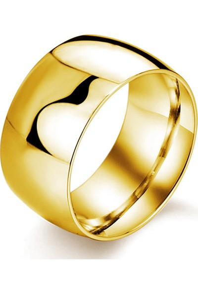 Chavin Söz Nişan Unisex Sarı Parlak Geniş Çelik Yüzük