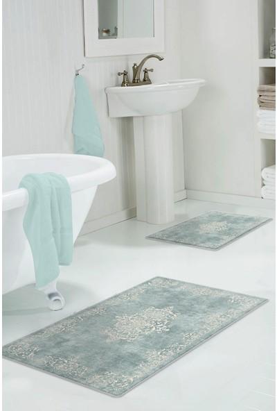 Colizon 50 x 80 cm - 40 x 50 cm Dijital Banyo Halısı Kaymaz Tabanlı Klozet Takımı 2'LITYKDB-2089MAVI-K