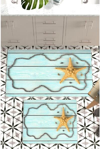 Colizon 60 x 90 cm - 50 x 60 cm Dijital Banyo Halısı Kaymaz Tabanlı Klozet Takımı 2'li TYKDB-2102