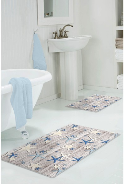 Colizon 60 x 90 cm - 50 x 60 cm Dijital Banyo Halısı Kaymaz Tabanlı Klozet Takımı 2'li TYKDB-2304