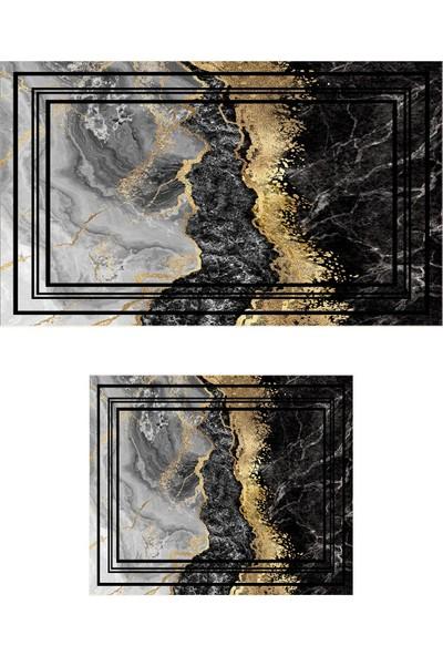 Colizon 60 x 90 cm - 50 x 60 cm Dijital Banyo Halısı Kaymaz Tabanlı Klozet Takımı 2'li TYKDB-2375-2-1