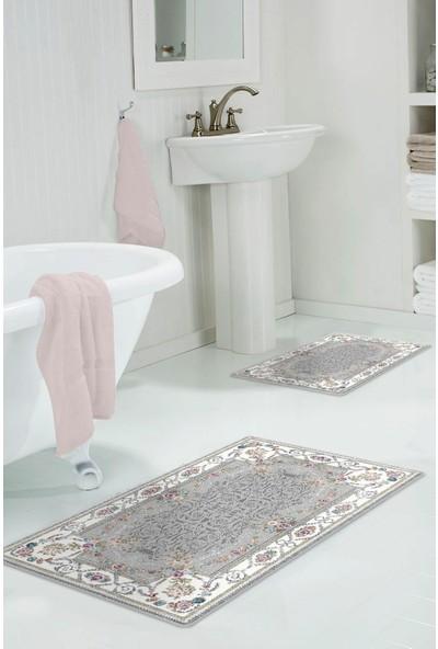Colizon 60 x 90 cm - 50 x 60 cm Dijital Banyo Halısı Kaymaz Deri Tabanlı Klozet Takımı TYLDB-1800YGRI