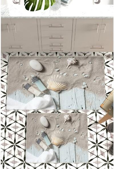 Colizon 60 x 90 cm - 50 x 60 cm Dijital Banyo Halısı Kaymaz Deri Tabanlı Klozet Takımı TYLDB-1852