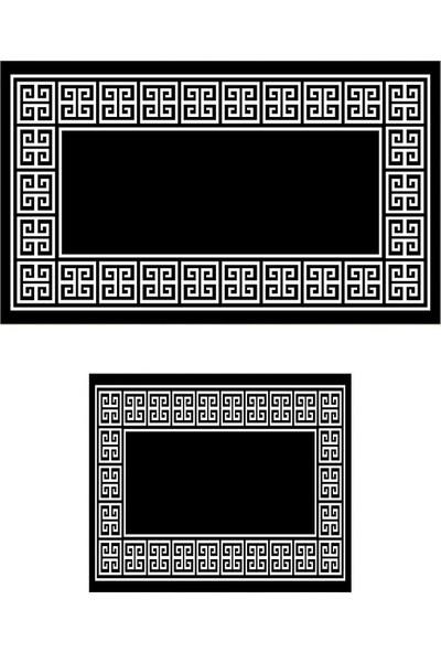 Colizon 60 x 90 cm - 50 x 60 cm Dijital Banyo Halısı Kaymaz Deri Tabanlı Klozet Takımı TYLDB-SN009SIYAH