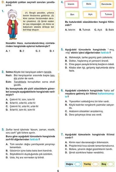 Karaca 8. Sınıf Türkçe Etkinlikli Soru Bankası Çalışma Yaprakları