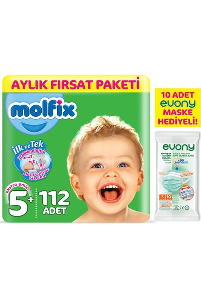 Molfix Bebek Bezi 5+ Beden Junior Plus Aylık Fırsat Paketi 112'LI + Evony Maske 10'lu