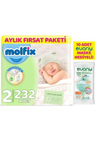 Molfix Bebek Bezi 2 Beden Mini Aylık Fırsat Paketi 232'LI + Evony Maske 10'lu