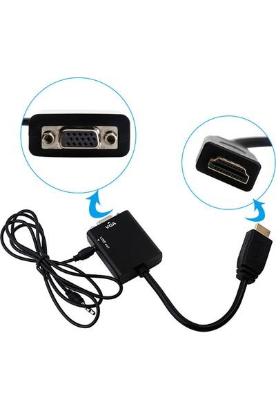 Concord C-845 HDMI To VGA Adaptör (25CM) + Aux Kablo (50CM)