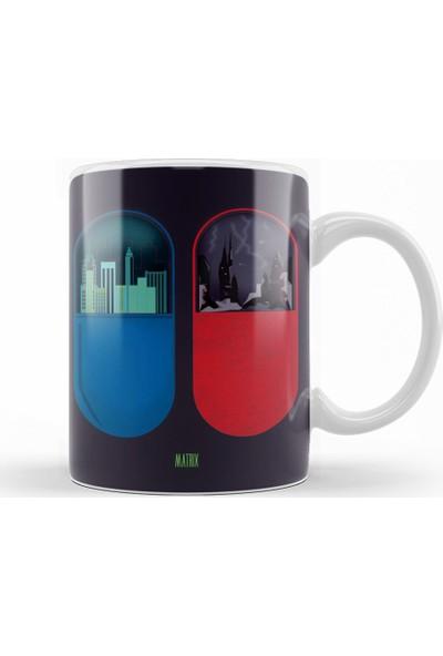 Baskı Dükkanı The Matrix Kırmızı Mavi Hap Kupa Bardak Porselen