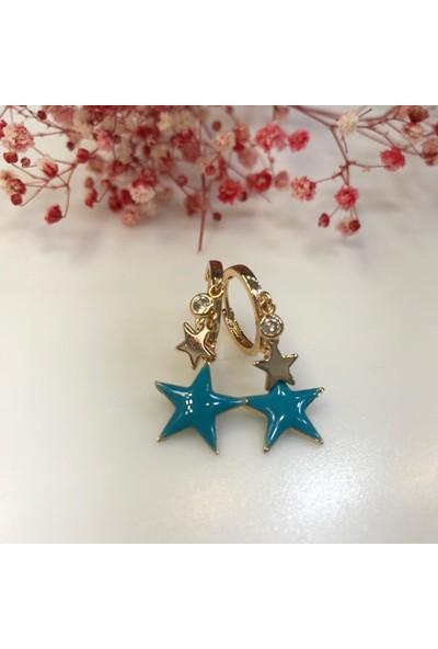 Affan Bijuteri Mavi Yıldız Figürlü Küpe