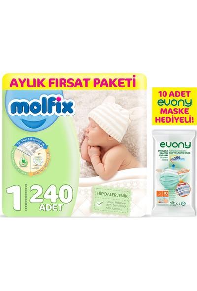 Molfix Bebek Bezi 1 Beden Yenidoğan Aylık Fırsat Paketi 240'LI + Evony Maske 10'lu