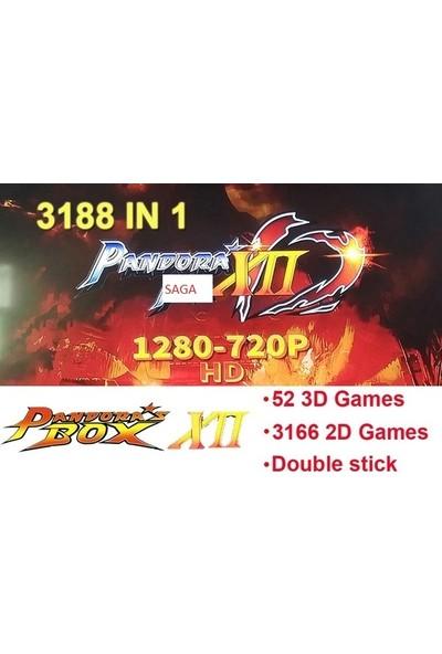 Saga Arcade Stick Tv Oyun Konsolu Ev Tipi Pandora Box 12SAGA 3D Full