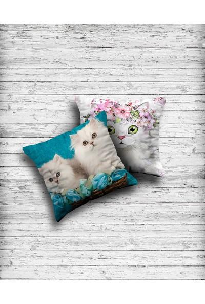 Kırlent Dünyası Çift Tarafı Baskılı Sevimli Kediler 2'li Yastık Kırlent Kılıfı