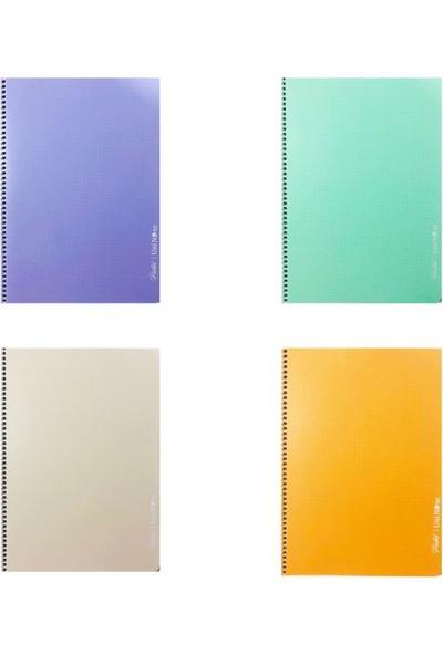 Çınar Pastel Renk Spiralli Defter 72 Yp. Kareli A4 4'lü