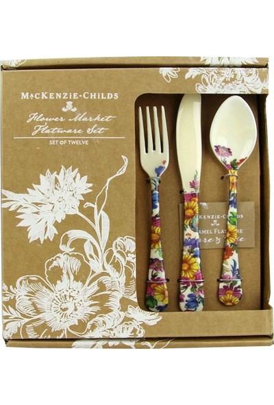 Mackenzie-Childs Flower Market 12 Parça Çiçek Baskılı Emaye Çatal Kaşık Bıçak Seti
