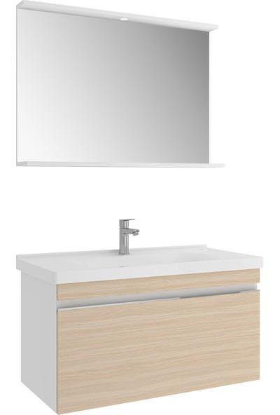 Kale Woody 100 cm Set - Beyaz&krem Meşe (Lvb+Dlp+Ayd Etj Ayna)