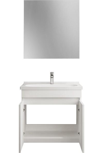 Kale Krea 80 cm Çekmeceli Set (Lavabo Dolabı+Ayna) Krem Meşe