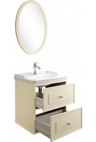 Kale Mıro 100 cm Set (Lavabo Dolabı+Ayna) Mat Krem
