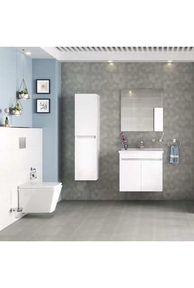 Kale Krea 100 cm Çekmeceli Set (Lavabo Dolabı+Ayna) Beyaz