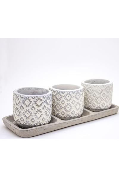 Veramaya Tabaklı Trio Beyaz Kilim Desenli Beton Sukulent Saksı Set 25X7X10 cm