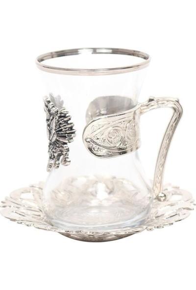 Nilhan Sultan Osmanlı Devlet Armalı Çay Takımı 6'lı Gümüş
