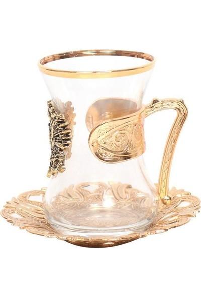 Nilhan Sultan Osmanlı Devlet Armalı Çay Takımı 6'lı Altın