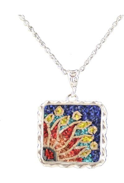 Antik Mozaik Anadolu Güneşi Kare - Firuze , Lapis , Mercan Taşlardan El Yapımı Kolye