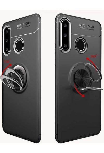Tekno Grup Huawei Y6P Kılıf Ultra Korumalı Yüzüklü Manyetik Ravel Silikon Siyah Mavi + Tam Kaplayan 6D Nano Ekran Koruyucu