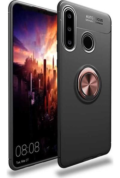Tekno Grup Huawei Y6P Kılıf Ultra Korumalı Yüzüklü Manyetik Ravel Silikon Siyah Rose + Tam Kaplayan 6D Nano Ekran Koruyucu