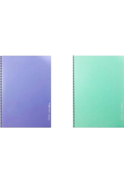 Çınar Pastel Renk Spiralli Defter 120 Yaprak Kareli A4 2'li