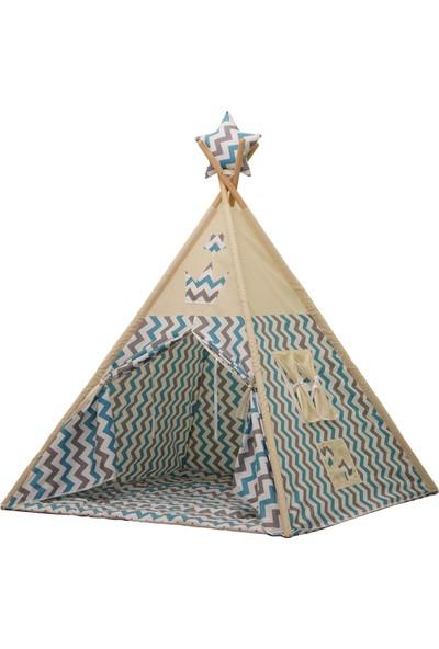 Enna Mavi Gri Zigzaglı Kızıldereli Çocuk Oyun Çadırı