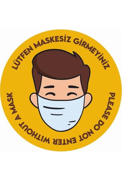 Boss Maskesiz Girilmez Uyarı Etiketi Sosyal Mesafe