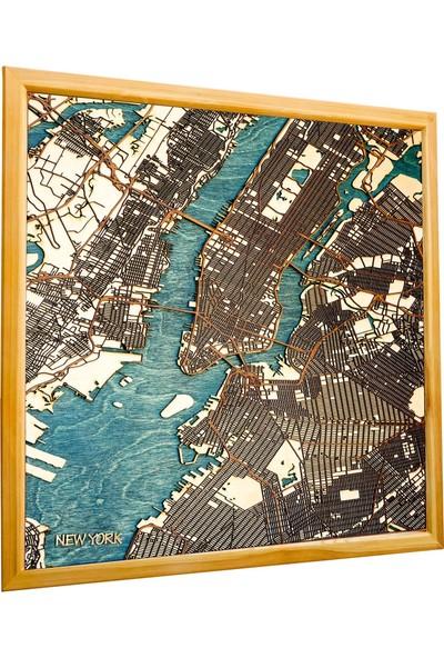 Zmap Design New York Ahşap Şehir Haritası