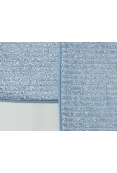 Madame Coco Shiny Flanel Banyo Paspası - Mavi