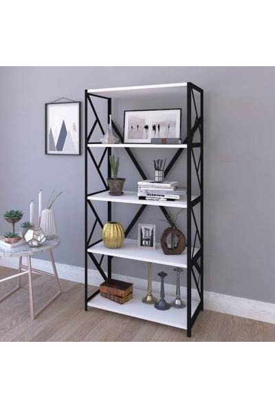 Çalışkan Home 5 Beyaz Raflı Metal Kitaplık