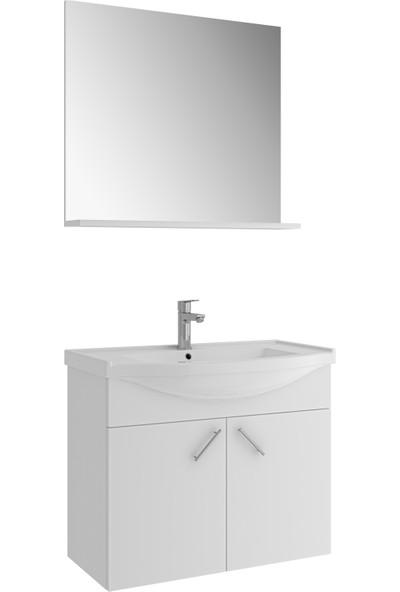 Kale Mılena 80 cm Beyaz Set: Optimum Lavabo + Lavabo Dolabı Etajer Ayna