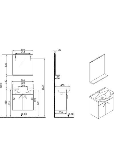 Kale Mılena 65 cm Italyan Ceviz Set: Optimum Lavabo + Lavabo Dolabı Etajer Ayna