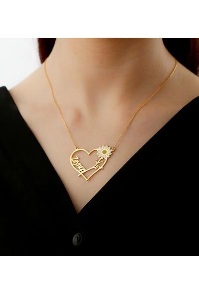 Tubi̇ss Takı Kişiye Özel Kalp Papatya Gümüş Kolye