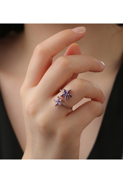 Tubiss Takı Sevda Çiçeği Ametist Ayarlanabilir Gümüş Yüzük