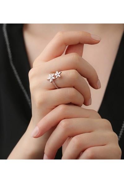 Tubiss Takı Sevda Çiçeği Beyaz Ayarlanabilir Gümüş Yüzük