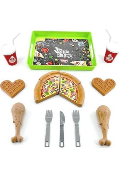 Birlik Oyuncak Pizza Waffle Tavuk Parçalı Pipetli Kola Oyuncak Yiyecek Seti