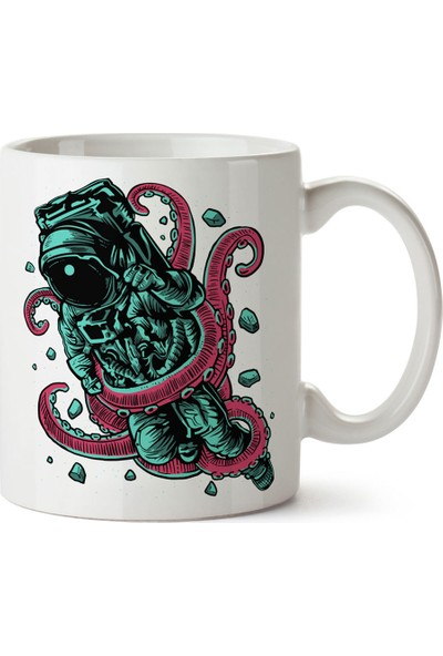 Presstish Alien Octopus Tasarım Baskılı Kupa Bardak
