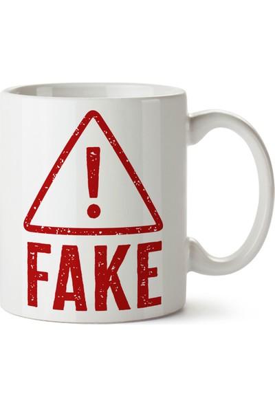 Presstish Hey Fake! Tasarım Baskılı Kupa Bardak
