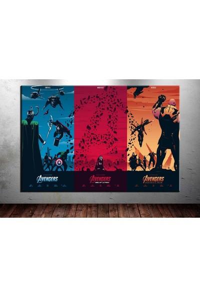 Caddeko Avengers Cinematik Üçleme Kanvas Tablo dkm-vng09-70 x 100 cm