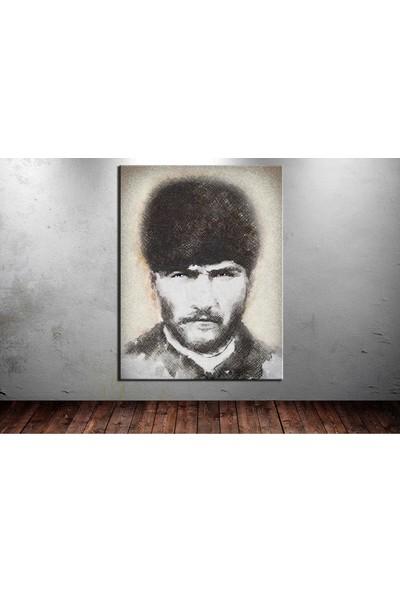 Caddeko Atatürk Tablosu Trablusgarp Cephesi Dijital Karakalem dkm129-70 x 100 cm