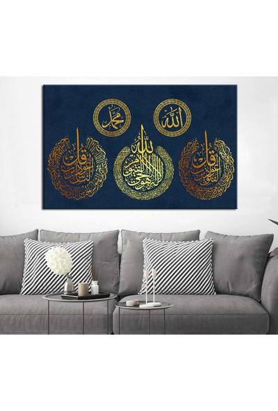 Caddeko Ayetel Kürsi Nas Felak Sureleri Allah Muhammed Lafzı Kanvas Tablo dkmr202-70 x 100 cm