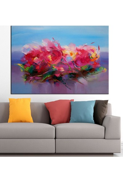 Caddeko Çiçekler Yağlı Boya Görünüm Kanvas Tablo dkm-k61-48-70 x 100 cm